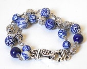 delft bracelet delft blue jewelry Delft Holland delft blue bracelet double strand bracelet blue and white bracelet present for her