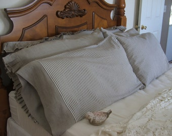 Linen and ticking Pillow Cases