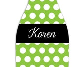 POLKA DOT personalized monogram bottle beverage insulator - zippered back for longnecks - weddings, bachelorette, parties, beaches