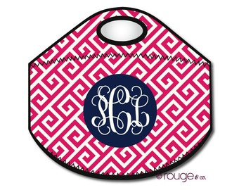 GREEK monogrammed lunch tote - with customizable pattern and monogram