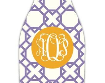 LATTICE REVERSE personalized monogram bottle beverage insulator - zippered back for longnecks - weddings, bachelorette, parties, beaches