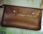 Upcycled leather clutch purse, bag, art bag with hand painted quote and word bird