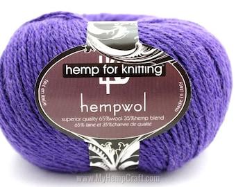 Purple Hemp Yarn, 250yd Royal Purple Hemp/Wool Blend