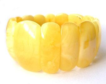 Baltic Amber Butterscotch Bracelet Stretch Natural Untreated 28.4 gram