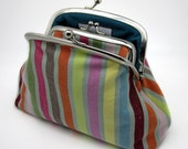 Striped Kiss Lock Coin Purse Wallet Clutch Silver Frame Gift for Women Wine Pink Mint Green Blue Orange Dusky Cotton Double Frame Metal Pock