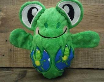 Frog peekaboo baby hideaway stuffed plush animal egg minky fabric  plushie stuffie