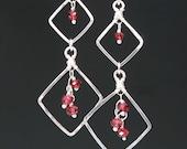 Garnet Earrings, January Birthstone, Red Garnet Earrings, Handmade Garnet and Sterling Silver Earrings, Lightweight Long Earrings