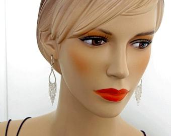 Sterling Silver Fringe Earrings, Long Silver Earrings, Long and Elegant, Valentine's Day Gift, Handmade in the USA, Fringe Teardrop Earrings