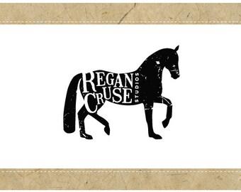 Custom Logo Design - PreDesigned PreMade Logo - Vector Logo - OOAK Logo - REGAN Logo Design - Equestrian Logo - Horse Logo - Ranch Logo