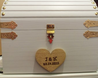Wedding Card Box - Small or Medium Sizes available - WHITE / GOLD - - Vintage-Style Painted Treasure Chest