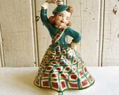 Vintage Scottish Lassie Figurine - Dancing Highland Fling - Handmade Ceramic - Mid-Century 1960s