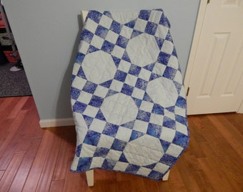 Blue Floral Baby Quilt