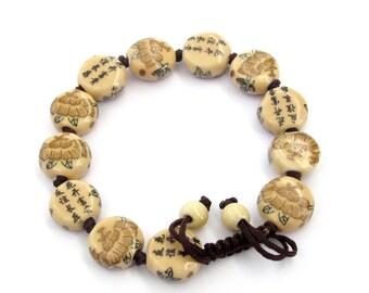 Hand Knotted Flat Porcelain Flower Calligraphy Words Beads Adjustable Charm Bracelet  T3228
