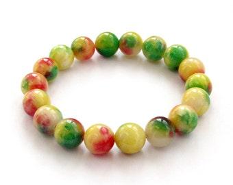 10mm Colorful Stone Beads Tibetan Buddhist Wrist Mala For Meditation Bracelet  T3240