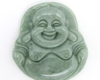 Natural Jadeite Gem Carved Happy Lucky Tibetan Buddhist Buddha Pendant Talisman 38mm*36mm  Cy154