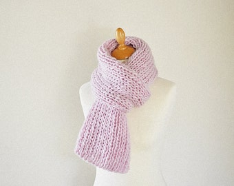 Pastel Pink Knit Scarf, Chunky Knitted Scarf, Pure Wool Scarf -