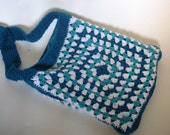 Crochet Bag, Blue, Aqua and White Granny Square bag