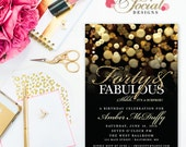 Surprise 40th Birthday Party Invitation with Gold Glitter Bokeh Forty and Fabulous PRINTABLE