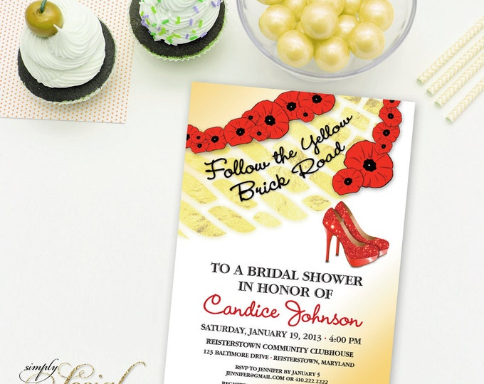 Wizard of Oz Bridal Shower Invitation - Glam Stiletto High Heels Glitter Wizard of Oz Printable Bridal Shower Invitation with Gold Foil Look