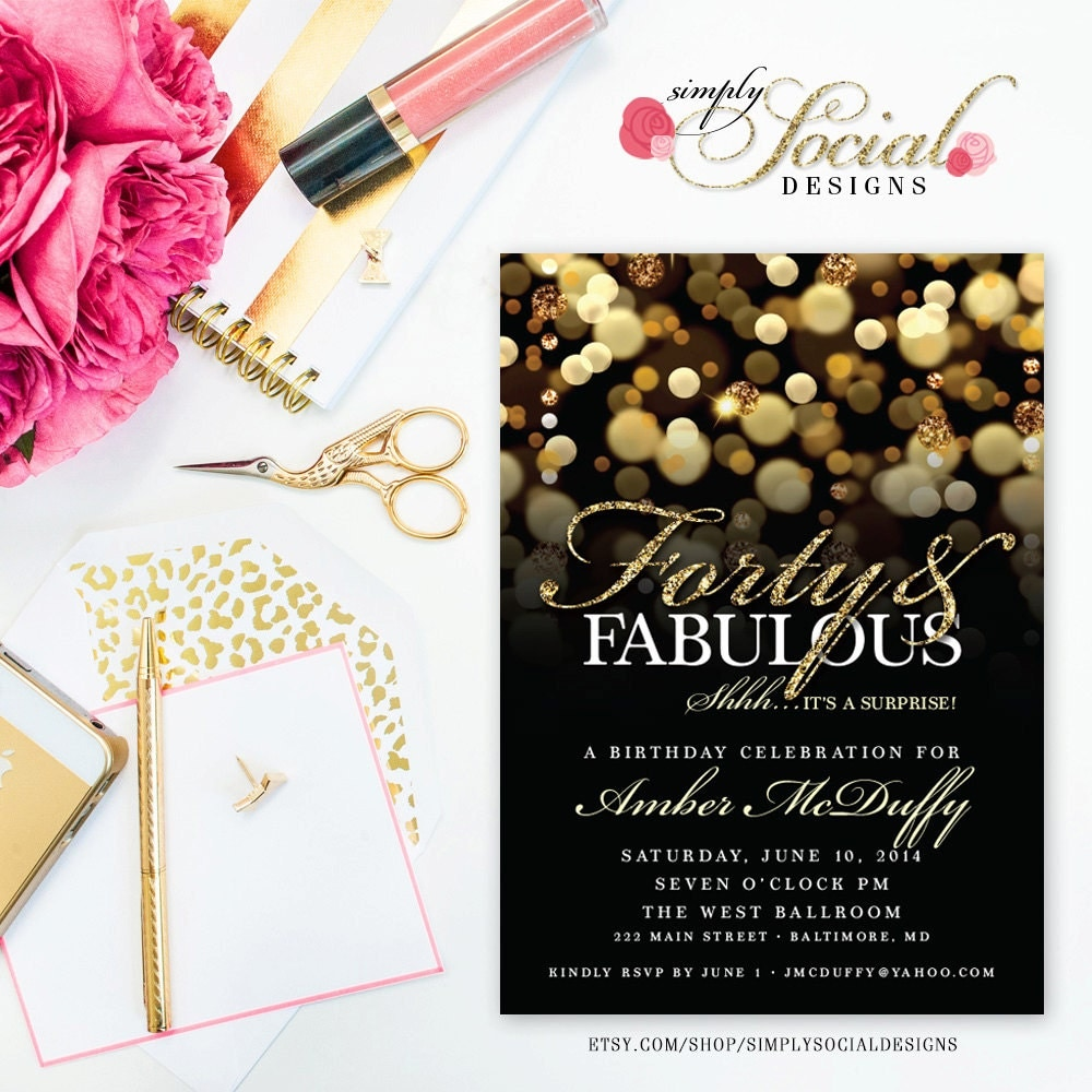 Surprise 40th Birthday Party Invitation With Gold Glitter