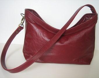 Marsala Leather 2-way Crossbody or Shoulder Bag