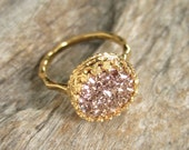 Rose Gold Druzy Ring, Titanium Drusy Quartz Ring, 18K Gold Vermeil Crown Setting