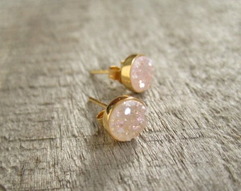 Tiny Natural Druzy Earrings Titanium Drusy Quartz Studs Bezel Set Posts