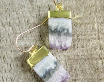 FLASH SALE 30% Druzy Earrings Amethyst Druzy Quartz Stalactite Slices