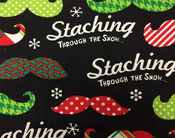Mustache - Staching Through the Snow - Flannel cotton Fabric - 5 inches