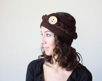 Women Knit headband, Women Knit earwarmer, Brown knit headband, Ear warmer headband, Knit Button headband, Brown ear warmer, Knit ear warmer