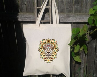 Eco Friendly Canvas Tote Bag - Reusable Grocery Bags - Beat It - Lion
