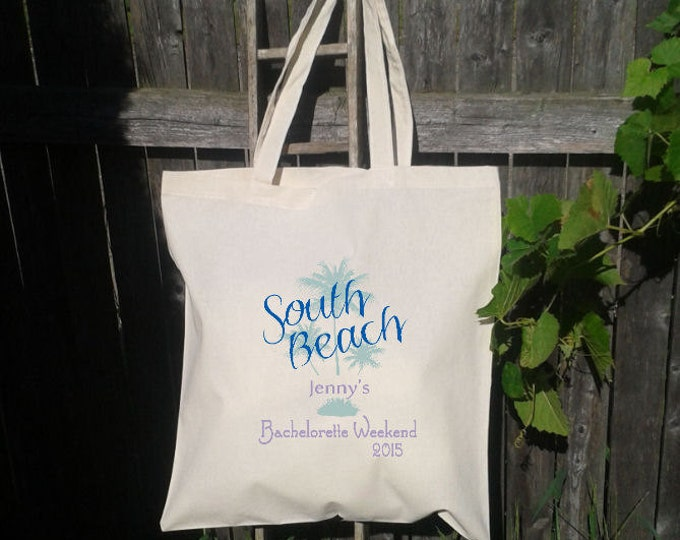 10 Bachelorette Party - Wedding Welcome Tote -Bridesmaid Tote - Wedding Party - South Beach Florida