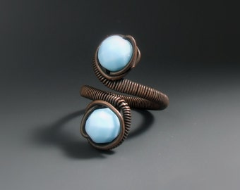 Blue copper ring, Turquoise glass beaded jewelry, Copper Rustic jewellery