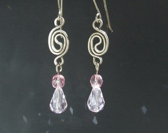 Romantic pink dangle earrings, tiny rose quartz colored glass jewelry, womens gift