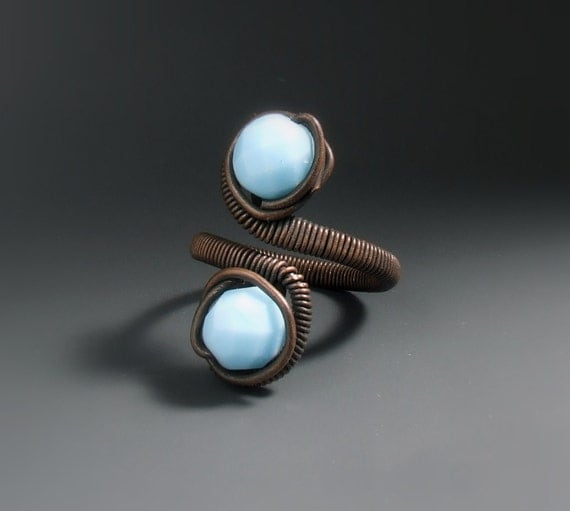 Blue copper ring, Turquoise ring, Glass beaded jewelry, Copper ring, Rustic jewelry
