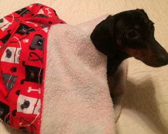 Small Dog Dachshund / Doxie Red with Square Dogs Print Snuggle Sack / Sleeping Bag FREE SHIPPING within the US