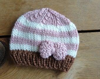 Baby Hat, Newborn Hat, Baby Beanie, Knit, Beanies, Pink, Soft White, Brown, Hat, Winter, Boy, Girl, Infant,  Photo Prop Infant Newborn