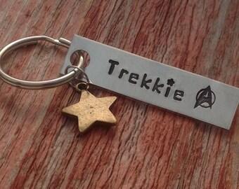 """Hand stamped """"Trekkie"""" Star Trek inspired keychain with star charm"""
