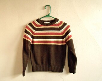 Vintage 1980s Striped Cropped Sweater Women's Brown Yellow White Tan 80s