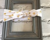 Boutique Baby Top Knot White and Gold Polka Dot Headband Top knot Headband White and Gold Turban Headband Twisted Knot Headband