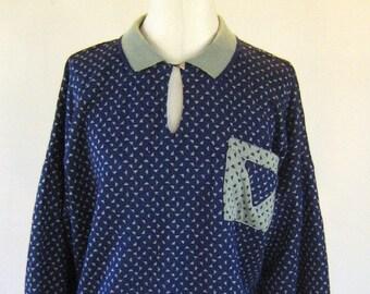 Navy Triangle Geometric Sweater Shirt Top