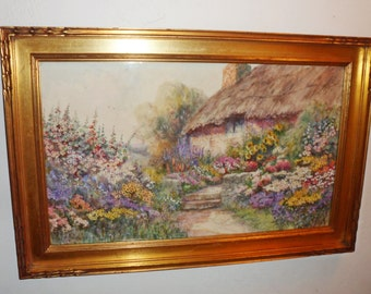 Original 1920's Thatched Cottage & Flower Garden WATERCOLOR by Leyton Forbes (1900-1925)