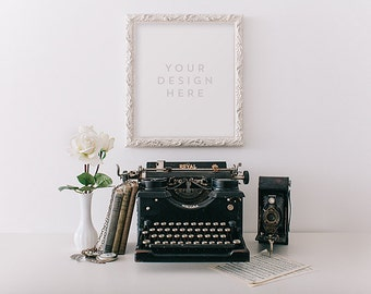 White Ornate Frame with Flowers & Vintage Typewriter, Stock Photography, Product / Frame Mockup Frame Mock up, Wall Art Display Template