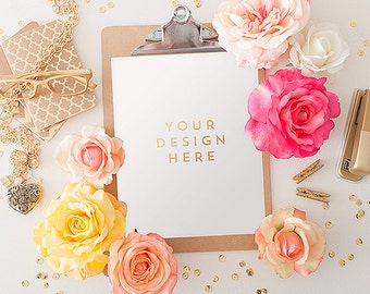 Clipboard with Flowers, Roses, Spring, Product / Frame Mockup Frame Mock Up for Bloggers, Wall Art Display Template Styled Desk Photography
