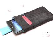 Sony Xperia XZ, XZs, XZ Premium, XA, Z5, Z3, Z2, Z1 sleeve case cover pouch handmade with magnetic closure dark jeans and blue with a pocket
