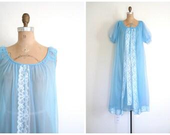 2 piece 1960s chiffon peignoir set - vintage 60s robe and nightgown / Powder Blue - fairy kei / kawaii - mermaid
