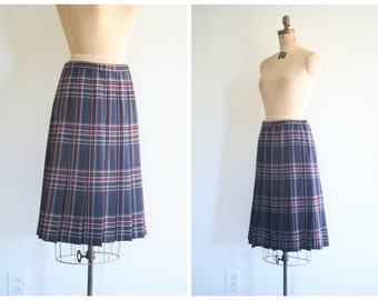 vintage 80s Pendleton wool pleated plaid skirt - drop down pleats / plaid tartan skirt - navy blue plaid skirt / 80s preppy plaid skirt
