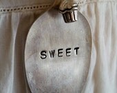 Cupcake spoon hand stamped necklace