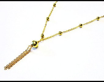 Gold Necklace Chain Necklace Tassel Necklace Tassel Jewelry Gold Jewelry Layer Necklace