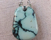 RESERVED for JESSICA Peacock Truquoise Pendant Sterling Silver Bail Handmade by Ginny
